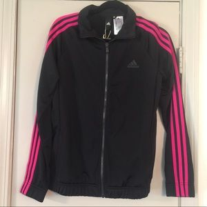 🖤Adidas Track jacket with pink stripes🖤